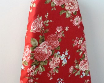 Ironing Board Cover - beautiful red pink roses on burgundy