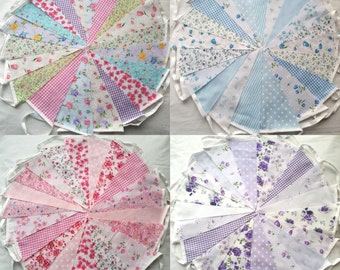 40 ft 12mtrs Fabric Bunting Vintage shabby chic style Wedding party banner floral garland Pink Blue Lilac Garden