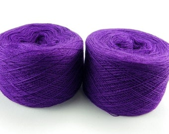 Bright lilac, crocus color lace weight merino yarn for lace knitting or Haapsalu shawl knitting, measure 2/28, 100 grams (1526yard)