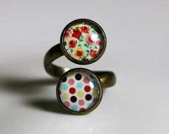 Glass Tile, Adjustable Ring, Bohemian Market, Flowers & Polka Dots