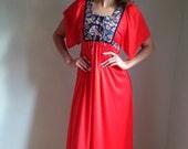 VALENTINES DAY SALE vintage 1970s  dress/ boho / folk  prairie/ hippie floral/red coral /60s 70s/maxi dress