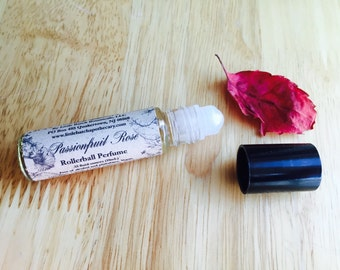 Passionfruit Rose Perfume Oil, vegan, floral, fruity, feminine, valentine, romantic, fragrance, scent, roll on