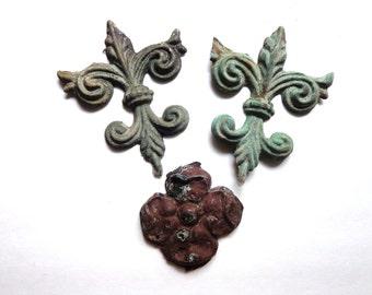 Antique Salvage Fluer De Lis Tin Embellishments Victorian Industrial Home Decor FREE Shipping
