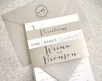 Bronson Wedding Invitation Suite with Belly Band - Champagne Gold, Black, Ivory (colors/text customizable)