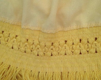 Vintage Lemon Yellow Round Tablecloth