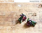 33% OFF Hattie Carnegie earrings - rhinestone clip on earrings - 1950s vintage - signed - purple & green
