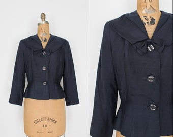 40s 50s blouse - blazer - vintage pure silk jacket - navy blue -  1940s 1950s - rhinestone buttons - hand tailored - size