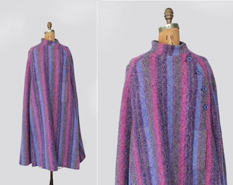 vintage cape - wool tweed cape cloak - 1960s 1970s - full length - striped