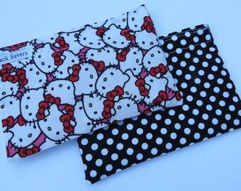 Reusable Sandwich Bag Set Reusable Snack Bag Hello Kitty Black Polka Dot You Choose Sizes