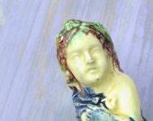 ANTIQUE CERAMIC FIGURINE Toothpick holder Ceramic Girl Figure Caldas