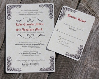 medieval wedding invitations | etsy, Wedding invitations