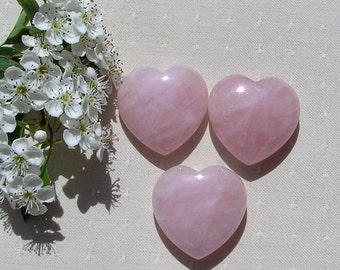 Rose Quartz Solid Gemstone Puffy Heart, Chakra Crystal, Love Heart, Meditation Stone, Worry Bead, Quartz Heart, Pink Gemstone Heart