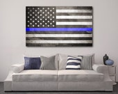 Thin Blue Line Flag Canvas, Thin Blue Line Canvas, Gift For Police Officer, Police Flag, Police Decor