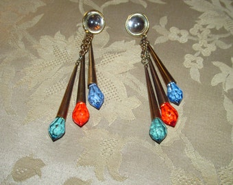 Copper-like Metal Cone Pierced Earrings With Green, Red and Blue Plastic Crystals