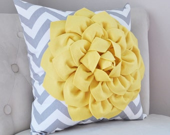 Mellow Yellow Dahlia on Gray and White Zigzag Pillow -Chevron Pillow- 16x16