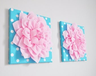 Pink and Aqua, Nursery Decor, Pink Flower, Aqua Canvas, 3D Nursery Wall Art, Home Decor, Flower Decor, 12X12 Canvas, Dorm Decor, Party Decor