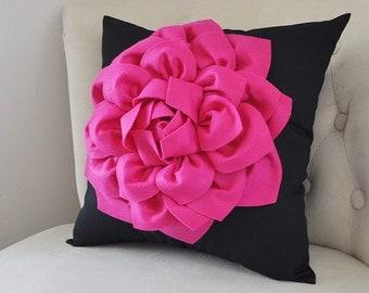 Hot Pink Pillows Pink Dorm Decor Hot Pink Diva Pillow - Fuchsia and Black Pillow - Hot Pink Dahlia Flower Pillow - Teenager Room