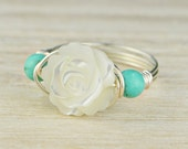 White Mother of Pearl Rose and Turquoise Ring -Sterling Silver, Rose or Yellow Gold Filled Wire Wrapped- Any Size 4,5,6,7,8,9,10,11,12,13,14