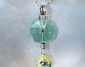 FREE SHIPPING--- Ancient Roman Glass Discs Necklace---Aqua---Yellow---Sterling Silver---Creations by Sandy