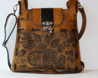 "Leather purse,medium, Cross body Satchel ,Toffee  brown, Rose Print, "" The Madrid"""