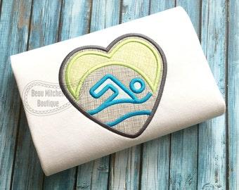 Swim heart applique