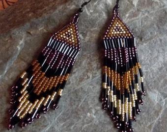 Brown Beaded Native American Style Earrings, Beaded Earrings, Brown and Copper beaded earrings
