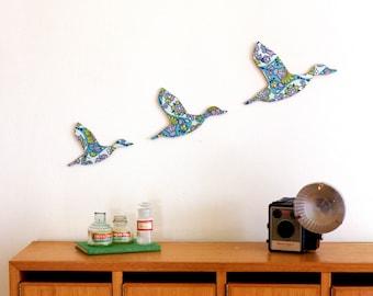 Trio of Flying Ducks – Retro Blue - Homewares - Housewarming Present - Wall Art - Ready to Hang - Plywood Plaques