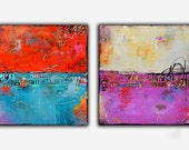 PAINTINGS set of two mixed media acrylic on canvas 24x24 abstract art