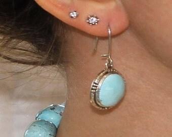 Jewelry Sale : ) Kingman Turquoise Earrings Pale Sky Blue Large #2