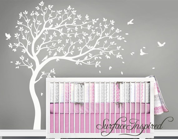 Wall Art Stickers For Nursery : Nursery wall decals white tree decal large