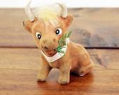 Ferdinand The Bull Vintage Cow Figurine Flocked Toy