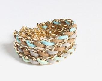 Pastel Color Faux Suede Gold Chain Bracelet (3 colors available)
