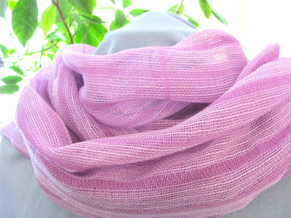 Lacy Summer Scarf, Women's Fashion Scarf, Casual Beach Urban Cottage Chic Cocktail Accessory, Hand Woven Lightweight Pink White Cotton Scarf