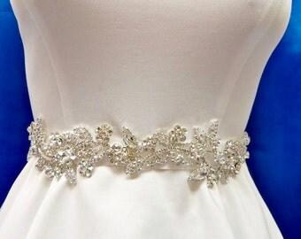 Rhinestone Bridal Sash, Wedding Gown Accessory, Bridal Crystal Sash,  Wedding Rhinestone  Belt