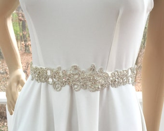 Rhinestone Bridal Sash, Wedding Gown Accessory, Bridal Crystal Sash,  Wedding Rhinestone  Belt