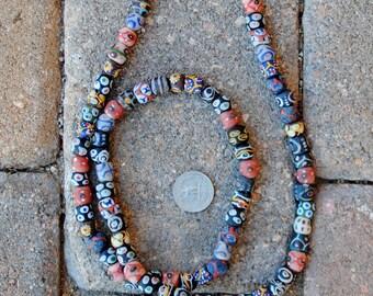 African Mixed Round Krobo Beads 10x10mm
