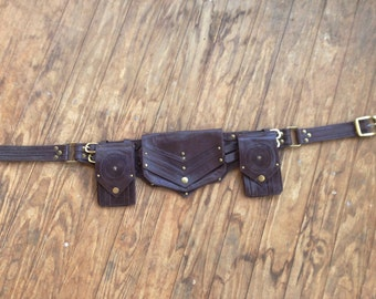 Tactical Star  Dieslepunk Steampunk Bomber Leather Utility Belt Bag