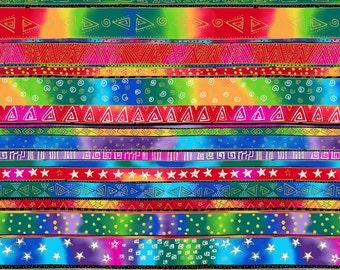 Enchantment Border Stripe - Laurel Burch - Clothworks - Half Yard