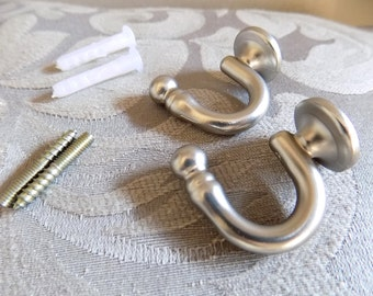 Wall hooks for curtain holders, silver plated brass