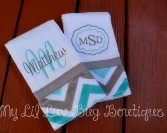 Personalized Burp cloth set prefold diaper- teal and topaz with grey chevron print- set of two