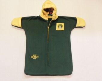 nba seattle sonics fleece baby bunting coat fits newborn 0 to 6 months