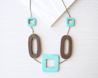Geometric Statement Necklace, Wood Jewelry, Turquoise Stone, 5th Anniversary Gift, Long, Boho, Bohemian, Chunky
