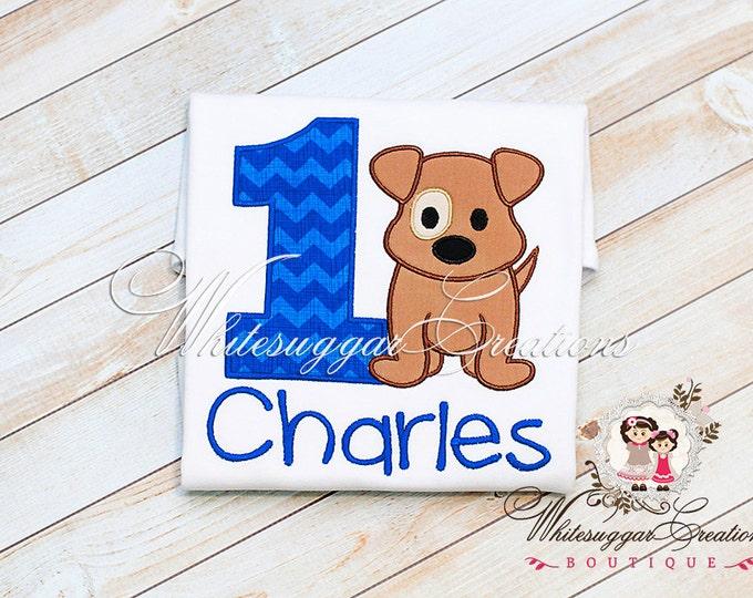 Boys Puppy Birthday Shirt - Custom Embroidered Boy Shirt - Baby Boy 1st Birthday Party