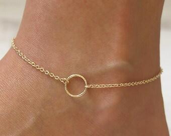 gold anklet,circle anklet,charm anklet,gold filled anklet,ankle bracelet,dainty necklace,beach anklet, thin anklet, minimalist anklet