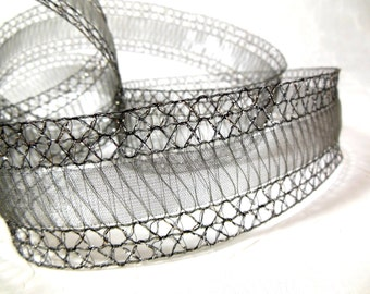 Wired Ribbon Antique Silver Grey Lace for Christmas Decor, Wedding, Crafts
