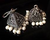 PEARL JHUMKA Earrings,Pyramid earrings,SILVER Jhumkas Ethnic ,Silver tribal Jhumkis,Indian Jewellery Bell earrings Taneesi YJ028P