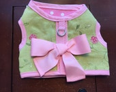 """SALE  14-16"""" and 17-19"""" Chest Pink and green linen Small Dog Harness Made in USA"""