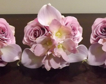Shades of lavender posy bridesmaids bouquet, real touch mini calla lilies, lavender roses and orchids