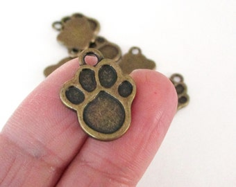 Dog Paw Charms - Brass Paw Beads - Canine Paw Charms - Bangle Bracelet Pendant - Pet Dog Charm (11) Pcs - Pet Memorial - Diy Findings