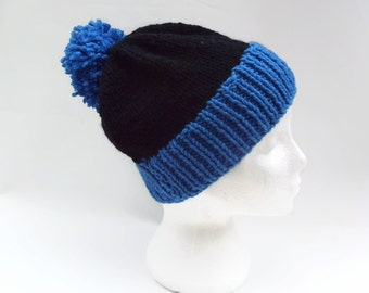 Men  Pom Pom Hat,Hand knitted  blue and black striped hat  men  Ski hat